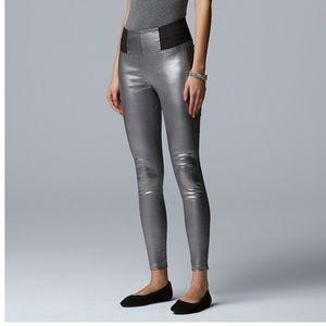 Simply Vera Vera Wang shiny coated denim leggings